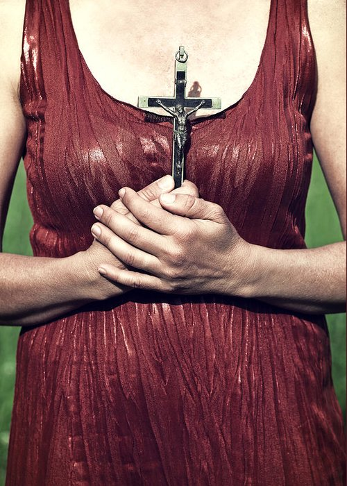 Female Greeting Card featuring the photograph Crucifix by Joana Kruse