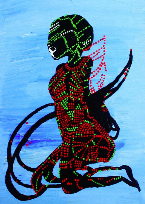 Jesus Greeting Card featuring the painting Dinka Bride - South Sudan by Gloria Ssali