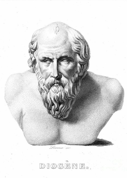 19th Century Greeting Card featuring the photograph Diogenes (d. C320 B.c.) by Granger