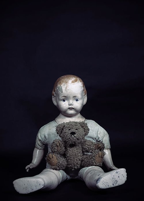 Teddy Greeting Card featuring the photograph Doll And Bear by Joana Kruse