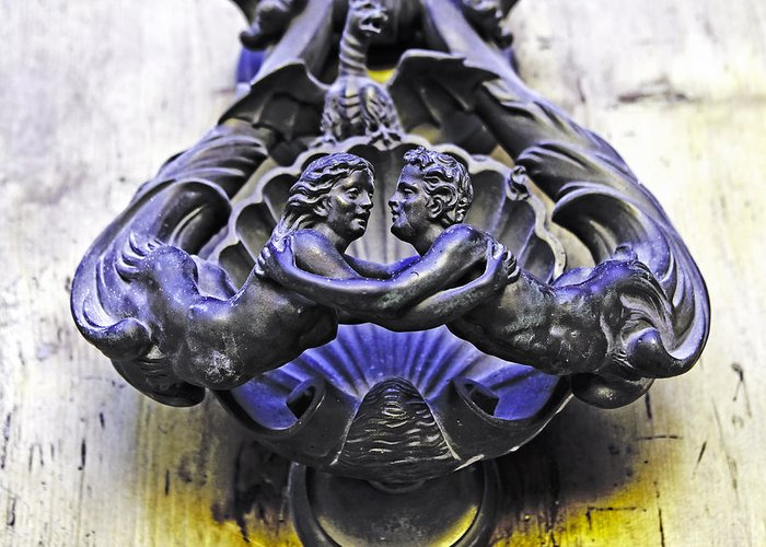 Pair Greeting Card featuring the photograph Door Knocker by Joana Kruse