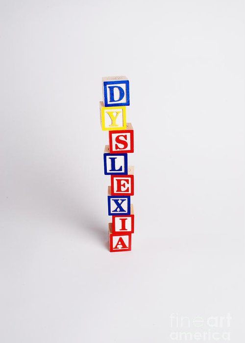 Wooden Blocks Greeting Card featuring the photograph Dyslexia by Photo Researchers, Inc.