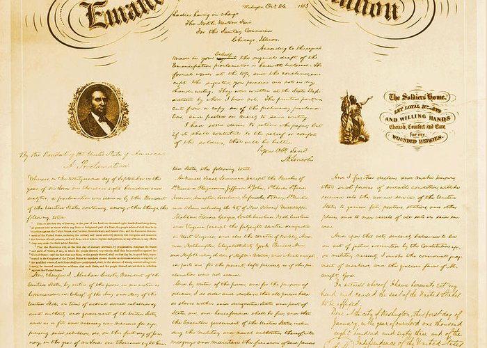 Emancipation Proclamation Greeting Card featuring the photograph Emancipation Proclamation by Photo Researchers