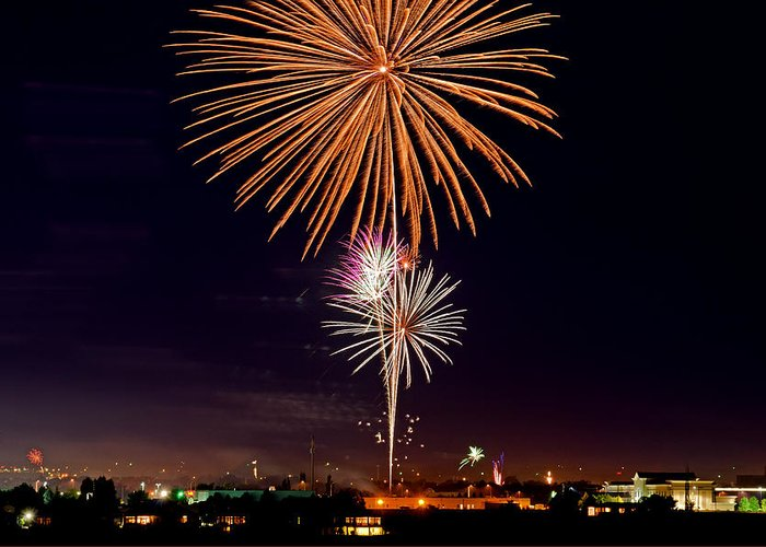 Fireworks Greeting Card featuring the photograph Fireworks by Elijah Weber