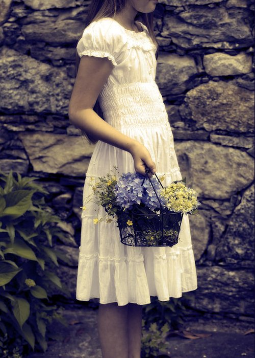 Girl Greeting Card featuring the photograph Girl With Flowers by Joana Kruse