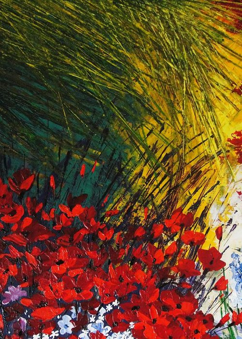 Pallet Knife Greeting Card featuring the painting Grass by Shilpi Singh