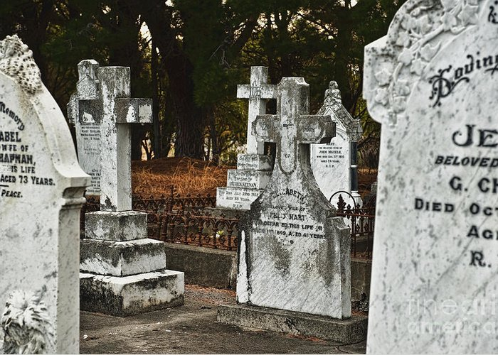 Abandoned Greeting Card featuring the photograph Gravestones In Graveyard by Dave & Les Jacobs