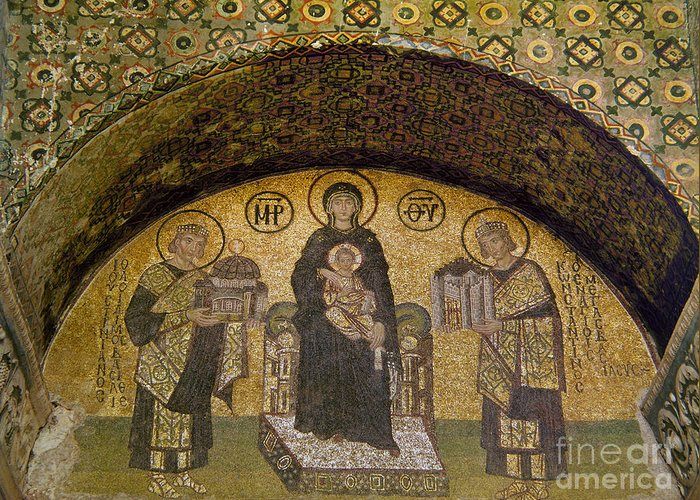 6th Century Greeting Card featuring the photograph Hagia Sophia: Mosaic by Granger