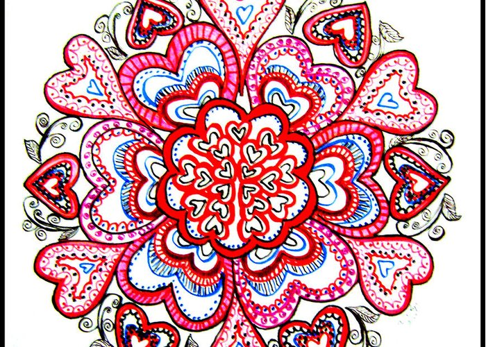 heart mandala greeting card for sale by gladys childers