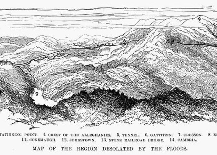 1889 Greeting Card featuring the photograph Johnstown Flood, 1889 by Granger