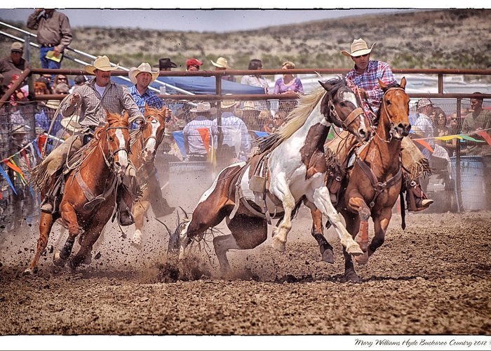 Jordan Greeting Card featuring the photograph Jordan Valley Arena Action 2012 by Mary Williams Hyde