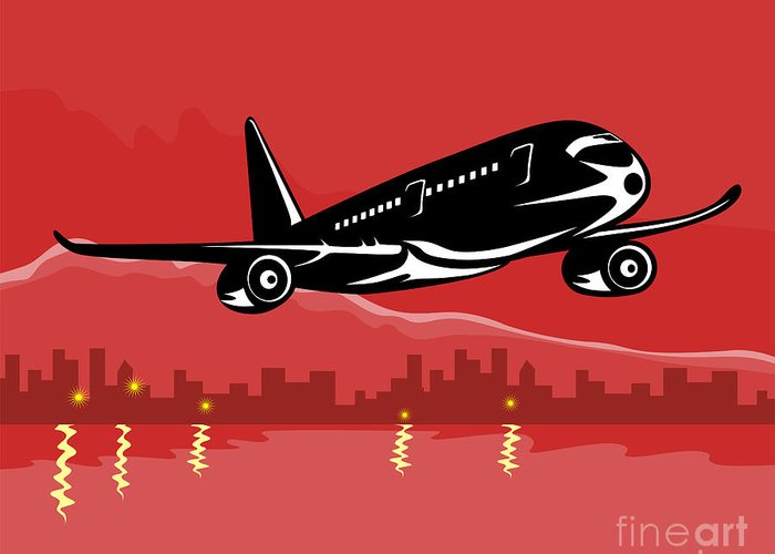 Commercial Greeting Card featuring the digital art Jumbo Jet Plane Retro by Aloysius Patrimonio