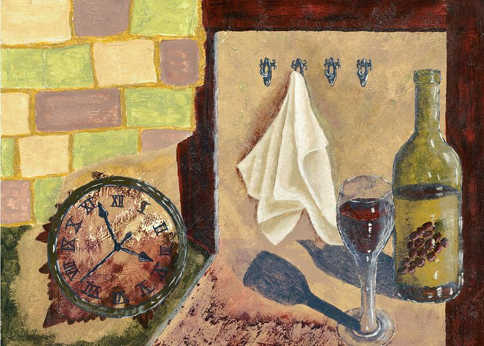 Acrylic Greeting Card featuring the painting Kitchen Collage by Susan Schmitz