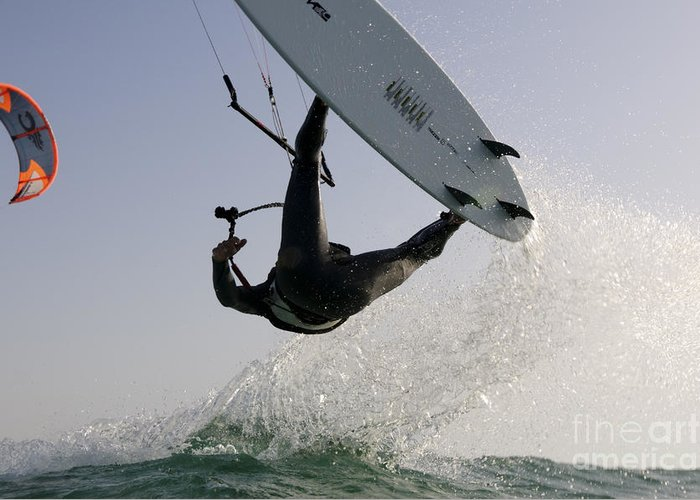 Kitesurfing Greeting Card featuring the photograph Kitesurfing Board by Hagai Nativ
