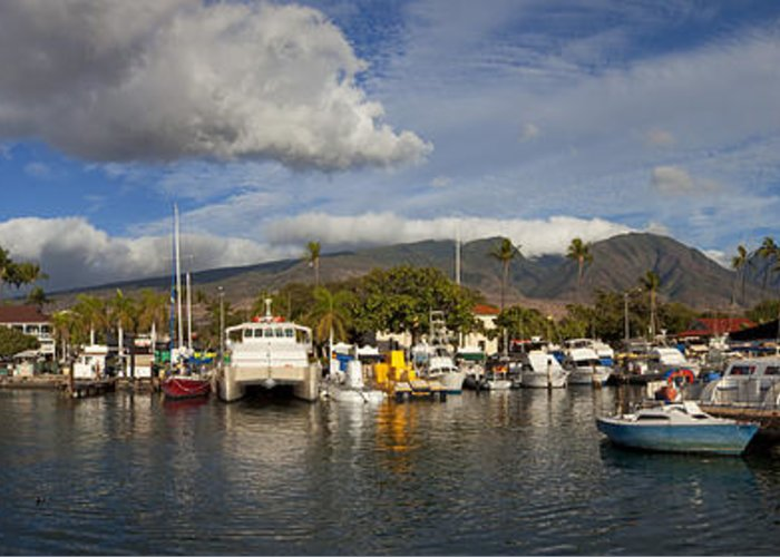 Lahaina Maui Hawaii Harbor Sea Boats Clouds West Maui Greeting Card featuring the photograph Lahaina Harbor by James Roemmling
