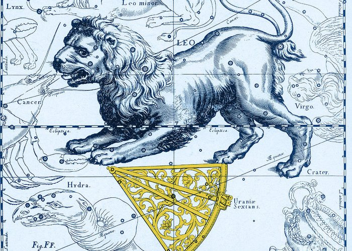 Science Greeting Card featuring the photograph Leo, The Hevelius Firmamentum, 1690 by Science Source