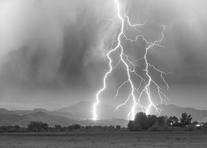 Awesome Greeting Card featuring the photograph Lightning Striking Longs Peak Foothills 6 by James BO Insogna