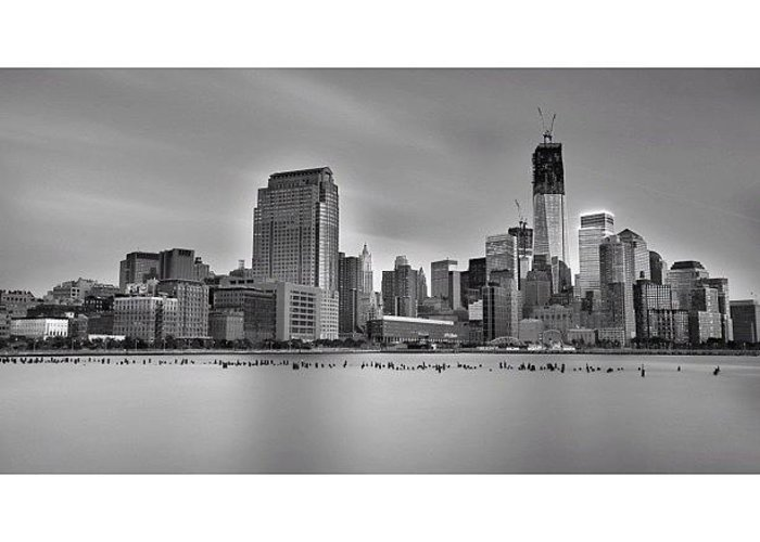 Greeting Card featuring the photograph Long Exposure Panorama Of The Manhattan by Larry Marshall