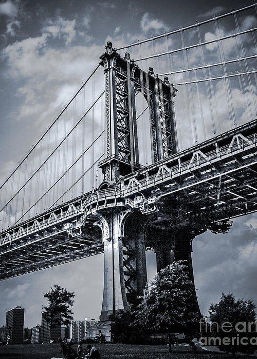 Manhattan Bridge Greeting Card featuring the photograph Manhattan Bridge by Ken Marsh
