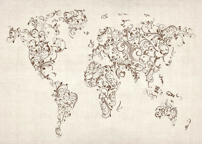 World Map Greeting Card featuring the digital art Map Of The World Map Floral Swirls by Michael Tompsett