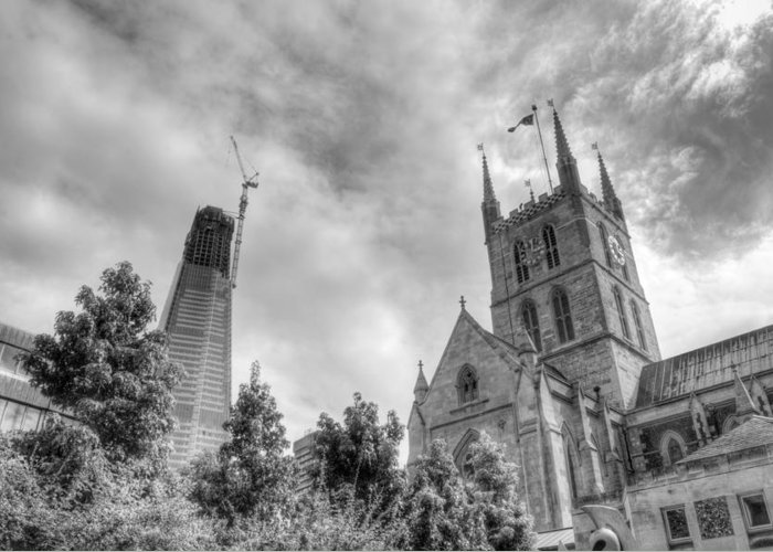 Shard Greeting Card featuring the photograph New and Old by Chris Day