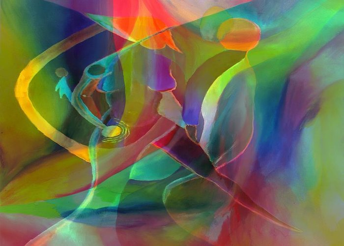 Abstract Greeting Card featuring the digital art 2 of Us Falling by Peter Shor