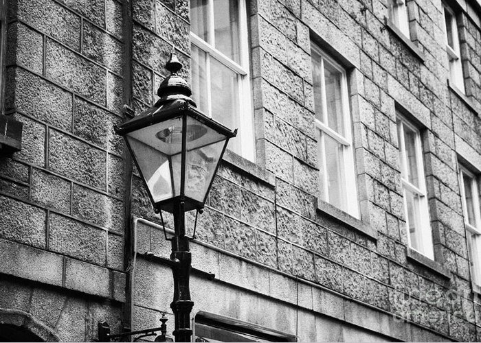 Old Greeting Card featuring the photograph Old Sugg Gas Street Lights Converted To Run On Electric Lighting Aberdeen Scotland Uk by Joe Fox