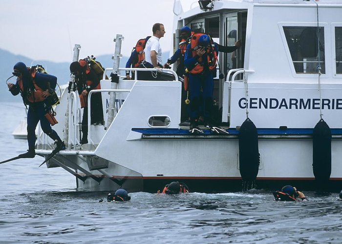 Boat Greeting Card featuring the photograph Police Divers Training by Alexis Rosenfeld