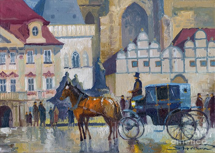 Oil On Canvas Greeting Card featuring the painting Prague Old Town Square 01 by Yuriy Shevchuk