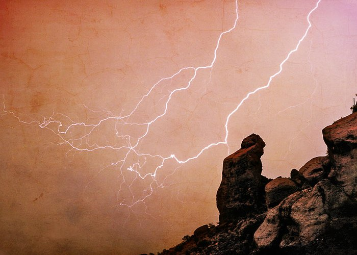 Bo Insogna Greeting Card featuring the photograph Praying Monk Camelback Mountain Lightning Monsoon Storm Image Tx by James BO Insogna