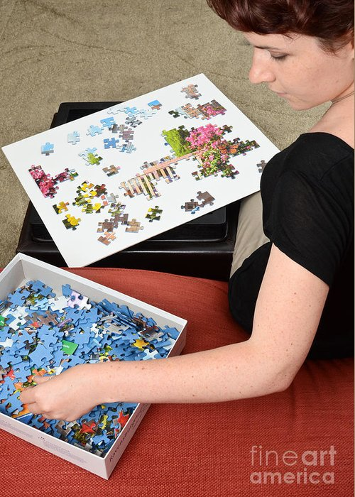 Puzzle Therapy Greeting Card featuring the photograph Puzzle Therapy by Photo Researchers, Inc.