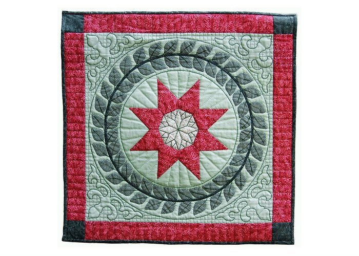 Quilt Greeting Card featuring the tapestry - textile Red Star by Deborah King