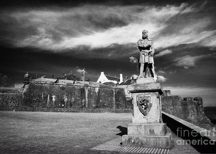 Robert The Bruce Greeting Card featuring the photograph robert the bruce statue at stirling castle Scotland UK by Joe Fox