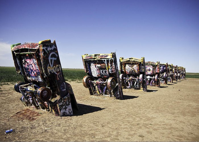 Rt 66 Cadillac Ranch Greeting Card For Sale By Paul Plaine