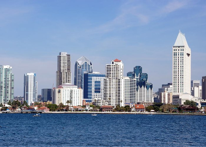 San Diego Greeting Card featuring the photograph San Diego Skyline by Jeff Lowe