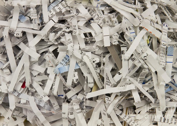 Shredded Greeting Card featuring the photograph Shredded Paper by Blink Images