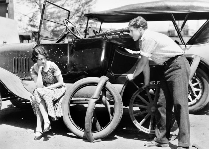 -transportation: Automobiles- Greeting Card featuring the photograph Silent Film: Automobiles by Granger
