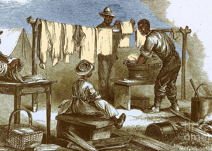 America Greeting Card featuring the photograph Slaves In Union Camp by Photo Researchers