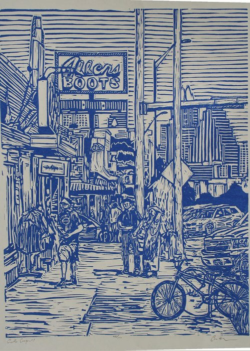 Austin Greeting Card featuring the drawing South Congress by William Cauthern