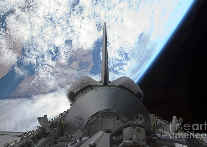 Horizontal Greeting Card featuring the photograph Space Shuttle Endeavours Payload Bay by Stocktrek Images