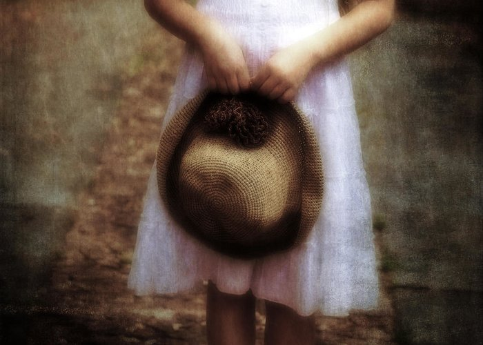Girl Greeting Card featuring the photograph Straw Hat by Joana Kruse