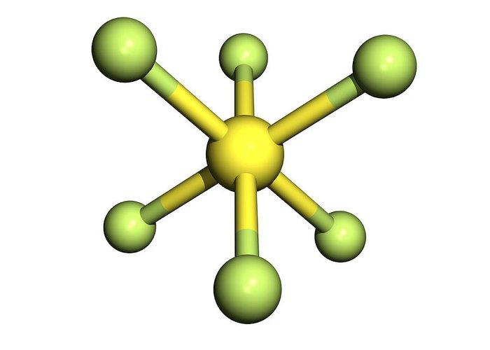 Sulphur Hexafluoride Greeting Card featuring the photograph Sulphur Hexafluoride Molecule by Friedrich Saurer