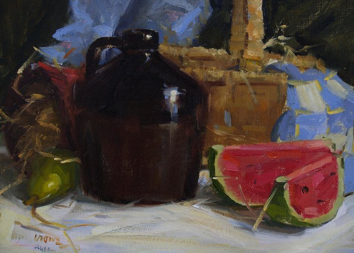Still Life Greeting Card featuring the painting Summer by Judy Crowe