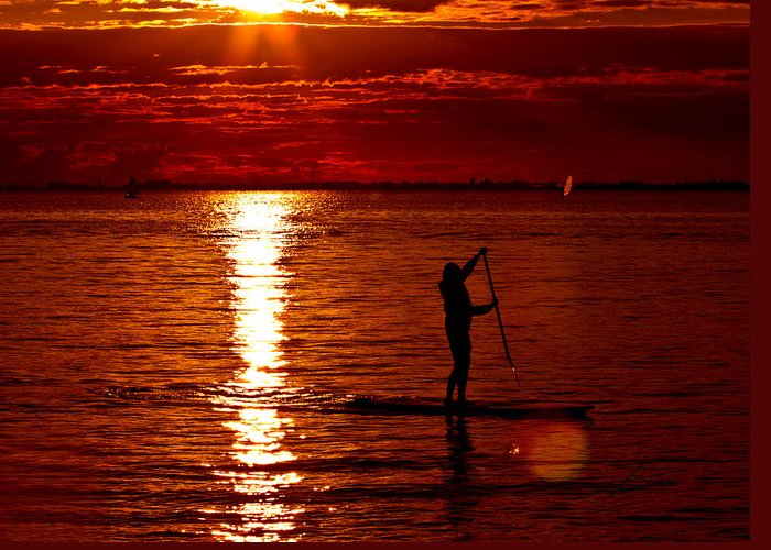 Paddle Boarding Greeting Card featuring the photograph Sunset Silhouette by Barbara White
