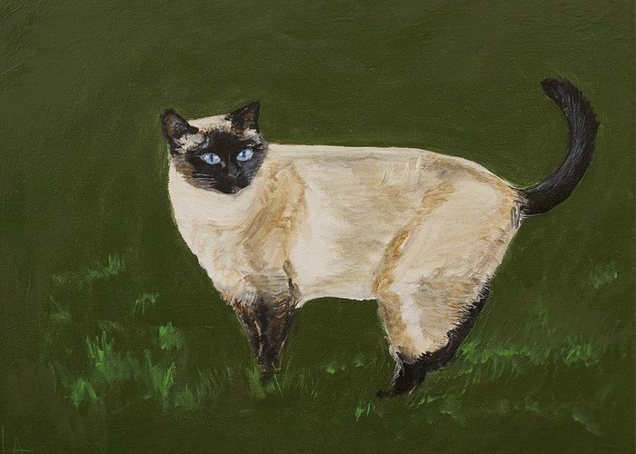 Siamese Painting Greeting Card featuring the painting Sweetest Siamese by Leslie Allen