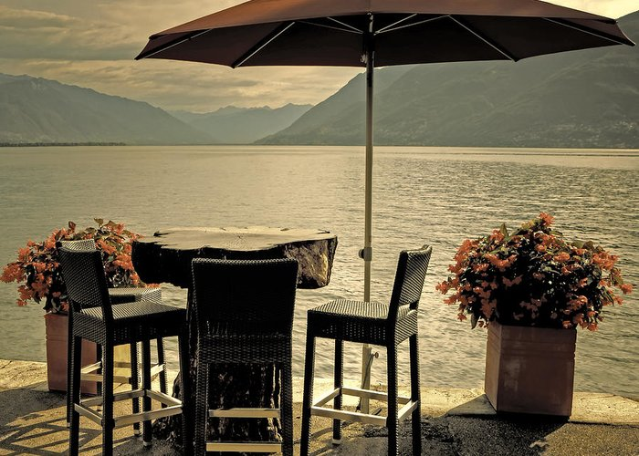 Brissago Greeting Card featuring the photograph Table And Chairs by Joana Kruse