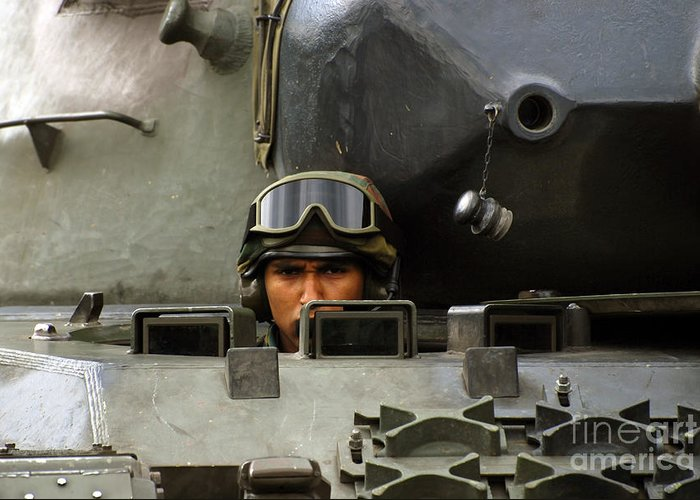 Adults Only Greeting Card featuring the photograph Tank Driver Of A Leopard 1a5 Mbt by Luc De Jaeger