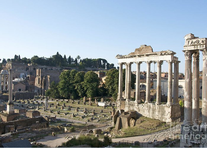 Worth Greeting Card featuring the photograph Temple Of Saturn In The Forum Romanum. Rome by Bernard Jaubert