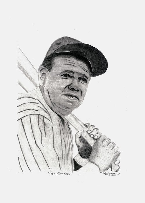 The Babe Greeting Card featuring the drawing The Bambino by Bob and Carol Garrison