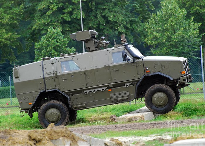 4x4 Greeting Card featuring the photograph The Dingo 2 Mppv Of The Belgian Army by Luc De Jaeger